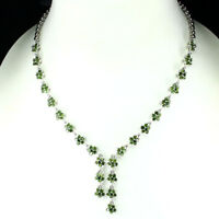 GENUINE GEM Round 2.5mm Green Chrome Diopside 925 Silver Flower Tennis Necklace