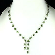 GENUINE  UNHEATED 2.5mm Green Chrome Diopside 925 Silver Flower Tennis Necklace