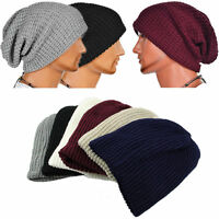 Men Slouch Beanie Hat Knitted Crochet Woolly Winter Oversized Ski Skateboard Cap