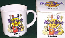 "Hard Rock Cafe HOUSTON 3.5"" White Ceramic COFFEE MUG w/HRC Logo & Guitars in BOX"