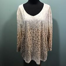 Chico's Beige Tan White Gold Shimmer Animal Print V Neck Knit Tunic Dress Top 3
