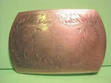 Old Hand Engraved Reversible COMSTOCK German Silver Belt Buckle Great Patina