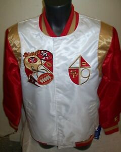 SAN FRANCISCO 49ERS COAT OF ARMS Starter Snap Down Jacket S M L XL 2X WHITE/RED