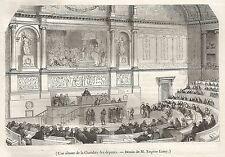 A5078 Francia - Una seduta alla Camera dei deputati - Xilografia del 1843