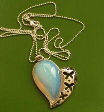 """OPALITE 10KT WHITE GOLD PLATED MODERN HEART DESIGN PENDANT 2"""" OF LOVE"""