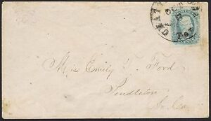 Confederate : 1863 Chattanooga Tennessee #11 10c Davis fine used to Pendleton.