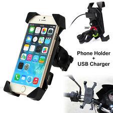 Phone Handlebar Holder Mount Bracket Bike Motorcycle Bicycle Stand USB Charger