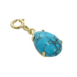 375 Real 9ct Yellow Gold & Natural Blue Turquoise Stone Teardrop Clip on Charm