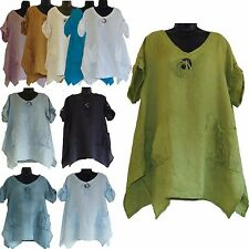 BN ITALIAN LAGENLOOK LADIES TOP TUNIC POCKETS LINEN PLUS SIZE 12 14 16 18 20 22