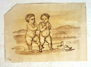Unknown Artist, Ink & Watercolour on Paper, Two Babies, 25x17 18th-19th Century