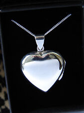 LARGE PLAIN LOCKET HEART NECKLACE PENDANT MODERN STERLING SILVER 925 CHAIN BOX
