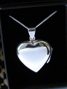 LARGE PLAIN HEART LOCKET NECKLACE - STERLING SILVER 925 - PENDANT + CHAIN BOXED