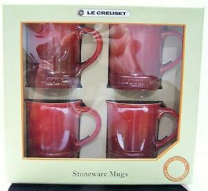 Set Of 4 Le Creuset Pearlized Red Graduated Color Coffee Mugs In Original Box