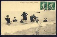 Carte Postale Ecrite en 1912 BERCK PLAGE (Pas de Calais) La LEÇON de NATATION