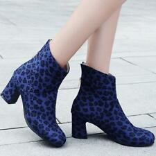 ladies Chunky Chelsea Ankle Boots Sexy Leopard Large Size Back Zip Combat Shoes#