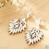 New Woman Statement clear crystal Rhinestone long Ear Studs hoop earrings 1047