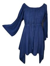 Gothic Medieval Pagan Dress Tunic  Bell Sleeve Denim Blue One Size 12 14 16 18