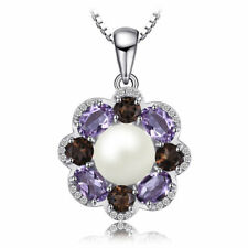 2.5ct Pearl Amethyst Smoky Quartz CZ Flower Pendant Necklace 925 Silver Special
