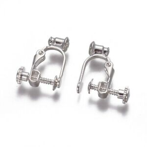 Screw/Lever Clip-on Earring Converters Findings 1 pair Non-Pierced Ears 17x13mm