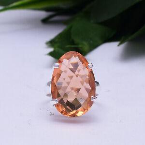 Halloween Morganite Gemstone 925 Sterling Silver Handmade Ring All Size
