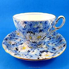 "Stunning and Rare "" Blue Daisy "" Chintz Shelley Tea Cup and Saucer Set"