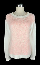 GORMAN Jumper - Knit Knitted Fluffy White Pink Acrylic/Merino Long Sleeve - 12/M