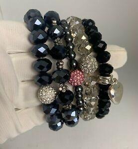 Glitter Ball Crystal Glass Stretch Bracelet Shamballa lot