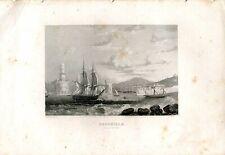 Marseille Entree du Port, grabado por Larbalestiere en 1850