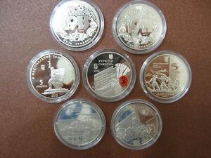 Ukraine FULL SET 7 coins: 70th anniversary of Ukraine's liberation WWII  UNC