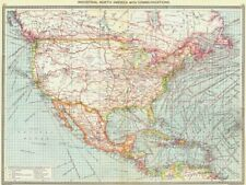 NORTH AMERICA. Industrial North America. with Communications 1907 old map