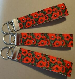 Poppies Poppy Fields Lest We Forget Remembrance Keyring Keyfob Handmade Gift