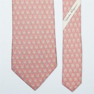 SALVATORE FERRAGAMO TIE Fox on Pink Classic Silk Necktie