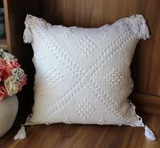 white Crochet square tassels lace cotton pillow cases cushion cover 45 cm