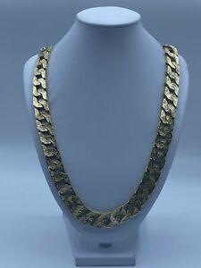 "9ct Gold Men's Bark Pattern Heavy Curb Chain - 28"", 15mm, 287.2g"