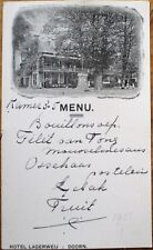 Doorn, Utrecht, Netherlands 1921 Handwritten Menu in French - Hotel Lagerweij- 2