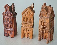 Three (3) Hand-Carved Wood Miniature Buildings