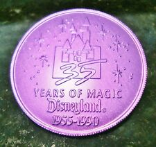 "1990 Disneyland 35 Years of Magic Coin 1 9/16""D FREE Ship Purple Violet Aluminum"
