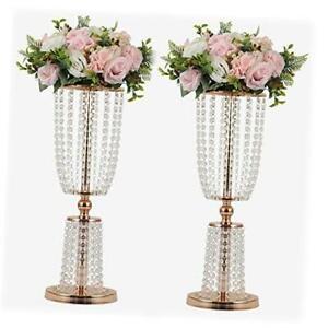 2Pcs Acrylic Crystal Centerpiece Wedding Backdrop Flower vase Candleholder Gold