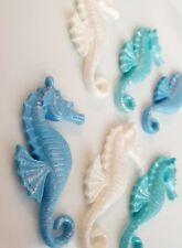 6 Edible Sugar Seahorse Cake Decorations Topper Seashells