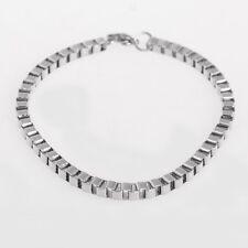 Uomo Donna Moda Bracciale Argento Acciaio Inossidabile Chain Braccialetto Hw01