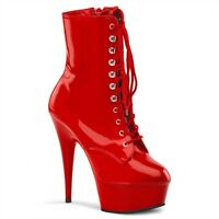 Pleaser Delight-1020 Ankle Boots Shoes Platform High Heels Lace Up Goth Black