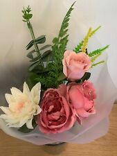 Bouquet Artificial Faux Flowers Wedding Decor Pink Posy Rose Peony Foliage