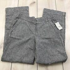 NWT DALIA Engineer Stripe Linen Cotton Blend Casual Pull On Pants WMs SZ 6