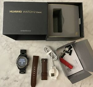 Huawei Watch 2 Classic – Titanium Grey with Brown Hybrid Strap & Link Band