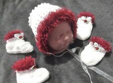newborn Bonnet boots set 4 baby / reborn handmade white / fluffy deep red / rose