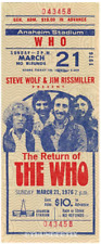 1 1976 THE WHO VINTAGE UNUSED FULL CONCERT TICKET Anaheim Calif laminated repro