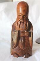 Antique Asian Hand Carved Solid Wood Fukurokuju Seven Lucky Gods Figurine