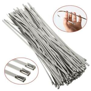 "100Pcs 12"" Stainless Steel Header Wrap Straps Self Locking Cable Zip Ties Metal"