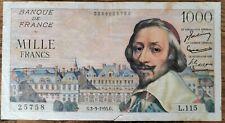 Billets 1000 francs RICHELIEU 3 - 3 - 1955 France L.115  (déchirure cf photos)