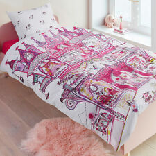 Fairy Palace Pink Princess 100% Cotton SINGLE Size Quilt Doona Cover Set